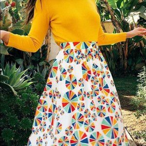Modcloth Rainbow Pinwheel A-Line Skirt w/Pockets